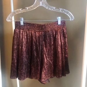 Sparkly Bronze Pleated Shorts